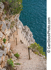 Steep rocky stairs down to the Croatian coast