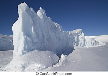steep side of a large iceberg that is frozen in Antarctic waters