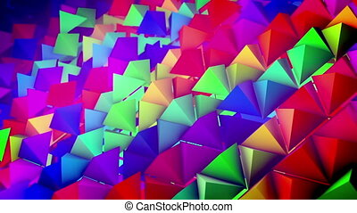"""Steep slope surface with rows of pyramids"" - ""Optimistic 3d..."