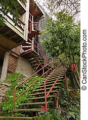 Steep stairs to old residential building in San Francisco