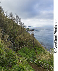Steep steps with wooden railing leading to beach near small coastal village houses on rocky lava shore above Atlantic ocean with sea water waves, cloouds and moody sky, Maia village, Sao Miguel, Azores islands, Portugal