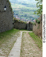 steep stone avenue to the shrine of St. Margaret of Cortona