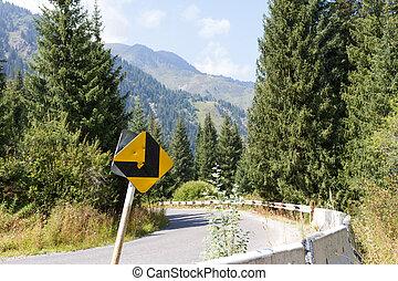 Steep turn on a mountain road