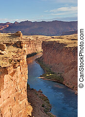 Steep walls of a canyon - A picturesque site of the river...