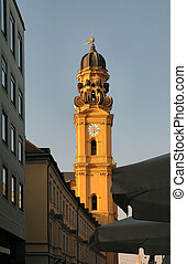 Steeple At Sunset - Church steeple and dome at sunset in...