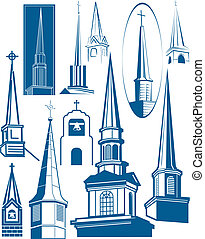 Steeple themed icons, symbols and clip art