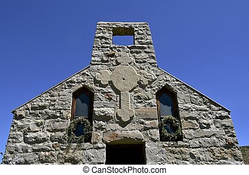 Steeple of an old stone church