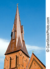 Steeple of historic church in Huntsville, Alabama with copy space