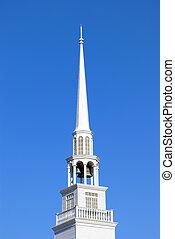 Steeple - Tall white steeple to a baptist church.