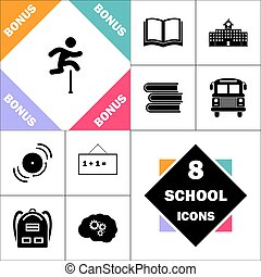 Steeplechase Icon and Set Perfect Back to School pictogram. Contains such Icons as Schoolbook, School Building, School Bus, Textbooks, Bell, Blackboard, Student Backpack, Brain Learn