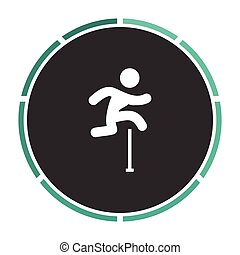 Steeplechase Simple flat white vector pictogram on black circle. Illustration icon