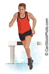 steeplechase male runner running over water obstacle and hurdle behind runner isolated on white background