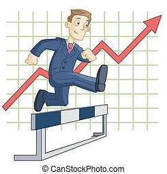 Illustration of the businessman running steeplechase on the business graph background