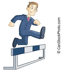 Illustration of the businessman running steeplechase on white background