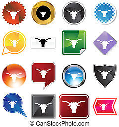 Steer Icon Set - Steer icon set isolated on a white...