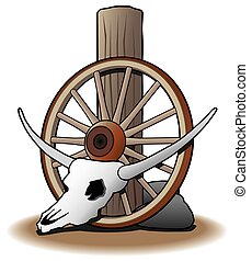 Steer Skull - Steer skull and wagon wheel are resting...