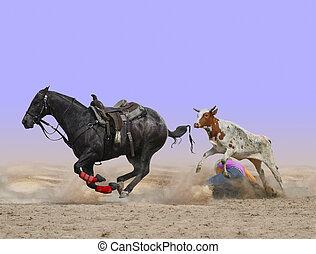 Steer Wrestling Gone Wrong - Cowboy under the steer he was...