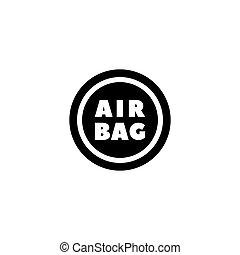 Steering Airbag Flat Vector Icon - Steering Airbag. Flat...