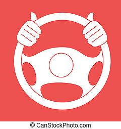 Steering design over red background, vector illustration
