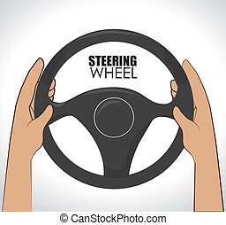 Steering design over white background, vector illustration