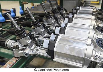 Steering Gears - Steering gears in a row in a factory