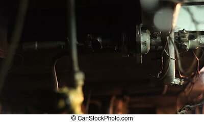 Steering shaft in the ship engine room