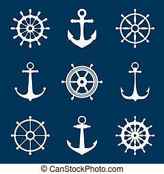 Steering ship wheels and anchors icons. Naval navigation vector signs