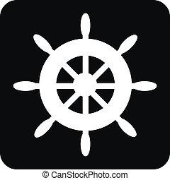 Steering wheel button on white background. Vector illustration.
