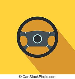 Steering wheel flat icon
