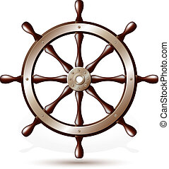 Steering wheel for ship isolated on white background. Vector...