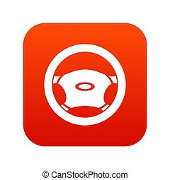 Steering, wheel icon digital red