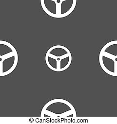 Steering wheel icon sign. Seamless pattern on a gray background. Vector