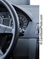 Steering wheel in a modern car