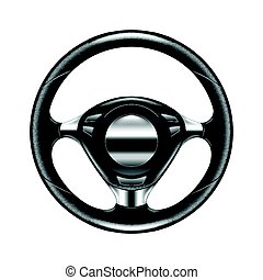 Steering wheel isolated on white vector