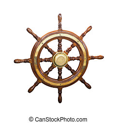 steering wheel of boat. Isolated over white background