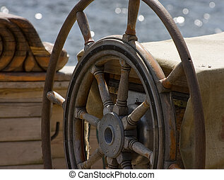 Steering wheel of old sail ship
