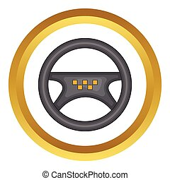 Steering wheel of taxi vector icon