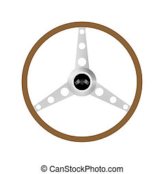 Steering wheel on a white background