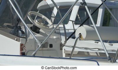 Steering Wheel on Speedboat