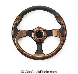 steering wheel on white background