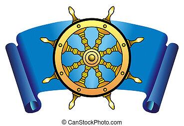 Steering wheel - Sea steering wheel on a dark blue...