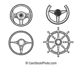 Steering wheel set sketch engraving vector illustration. T-shirt apparel print design. Scratch board imitation. Black and white hand drawn image.