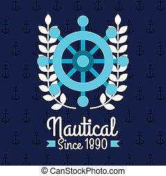 steering wheel ship nautical emblem design blue background