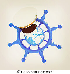 Steering wheel with Earth, and marine cap . Trip around the world concept . 3D illustration. Vintage style.