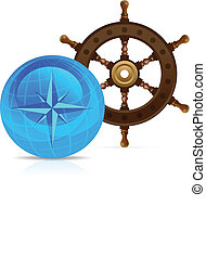 Steering wheel with Globe and compass