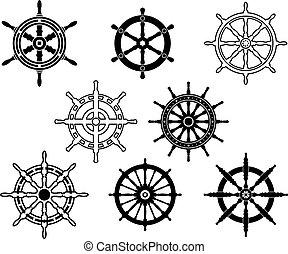 Steering wheels set for heraldry design isolated on white...