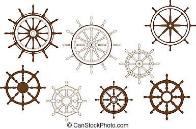 Steering wheels set for heraldry or marine design