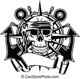 steering whell and skull - The vector image of piracy skull...