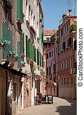 steet, pequeño, café, italia, venecia