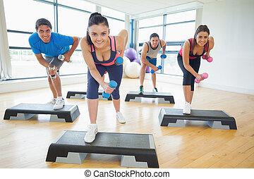 steg, övning, aerobics, gymnastiksal, längd, fyllda,...